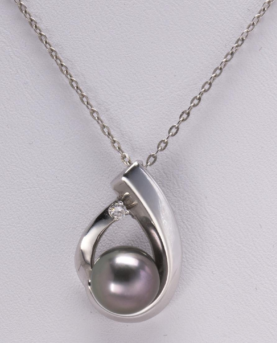 Cultured pearl, diamond and 14k white gold