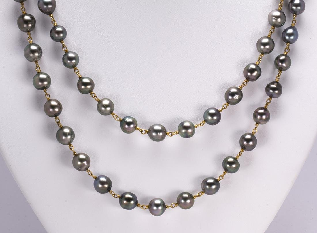 Tahitian cultured pearl, yellow gold necklace