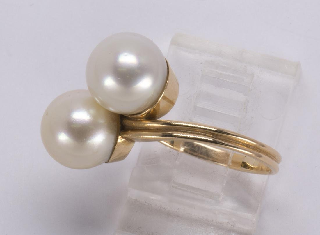 Cultured pearl and 18k yellow gold ring - 2