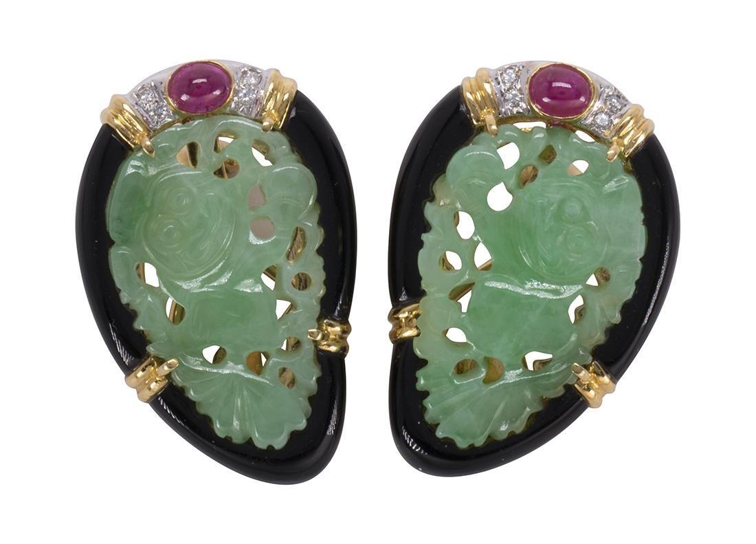 Pair of jadeite, ruby, diamond, black onyx and 18k