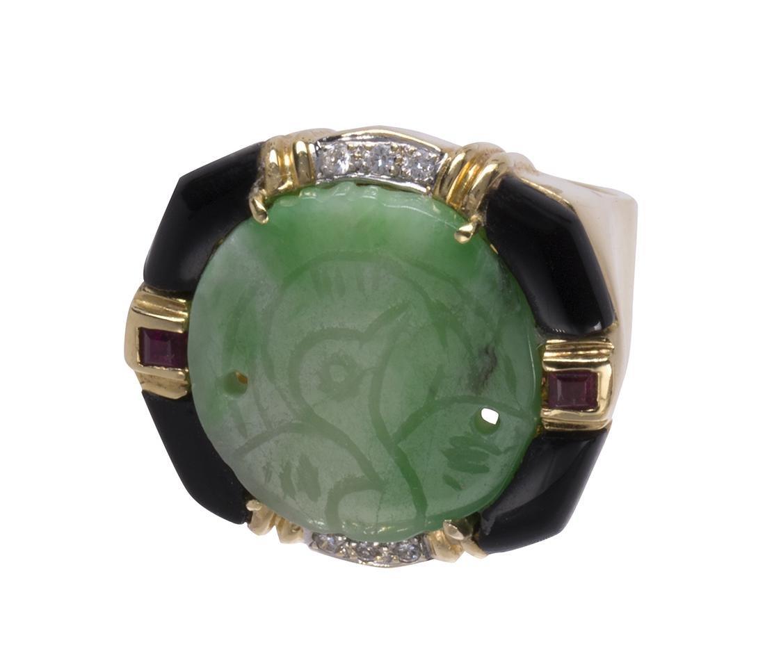 Jadeite, ruby, diamond, black onyx and 14k yellow gold