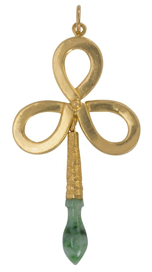 Jadeite and 22k yellow gold pendant
