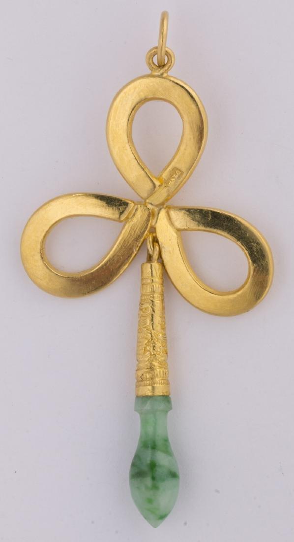 Jadeite and 22k yellow gold pendant - 2