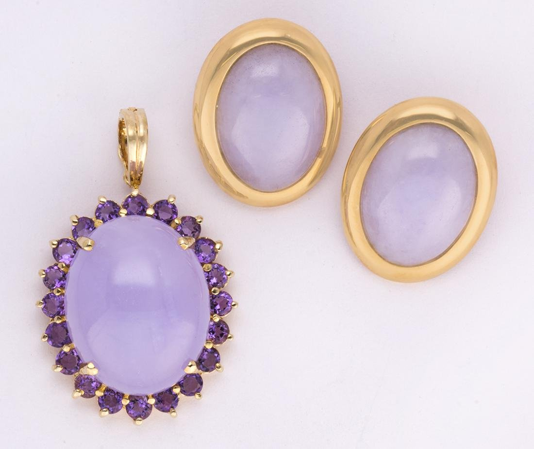 Jadeite, amethyst and 14k yellow gold jewelry suite