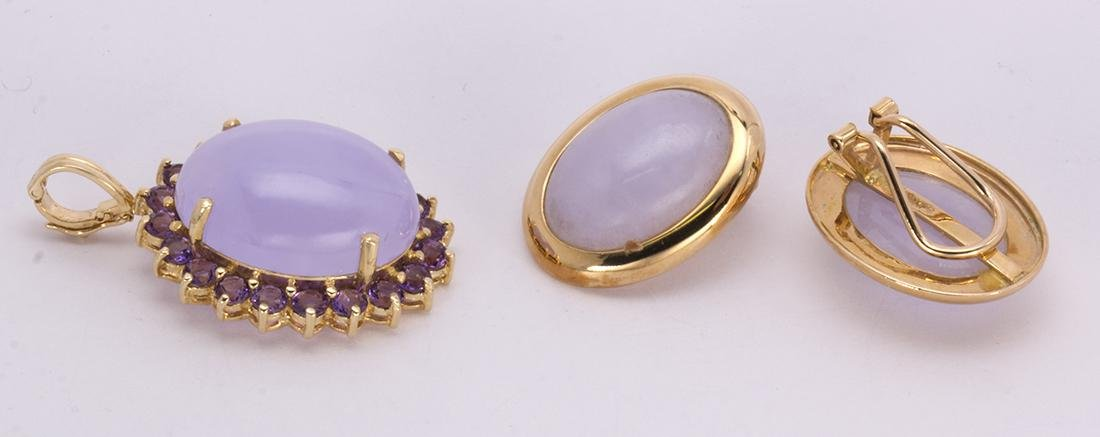 Jadeite, amethyst and 14k yellow gold jewelry suite - 2