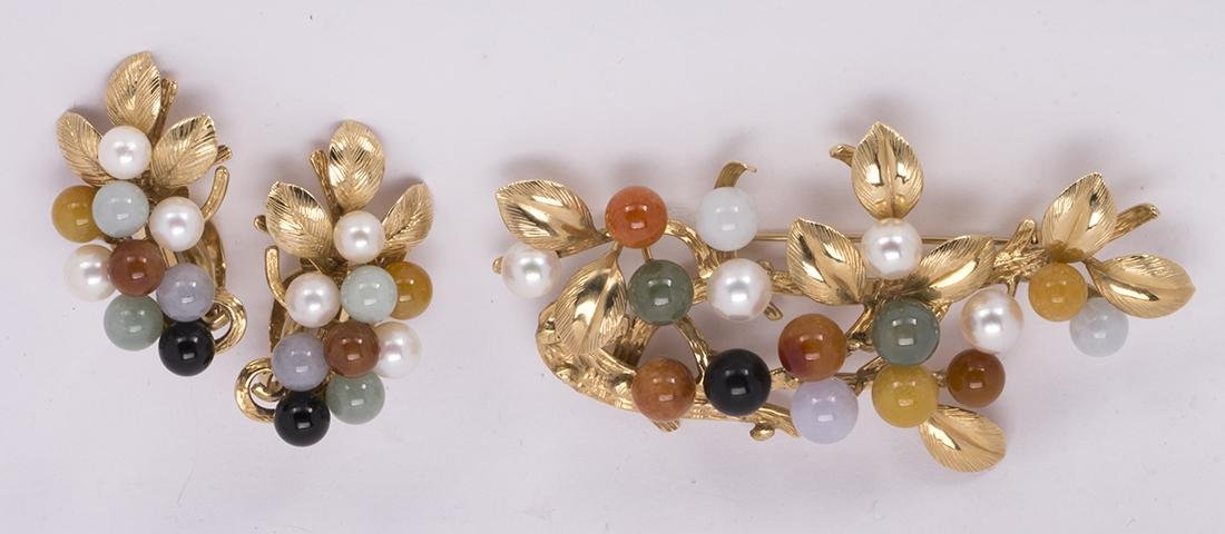 Multi-colored jadeite, cultured pearl and 14k yellow