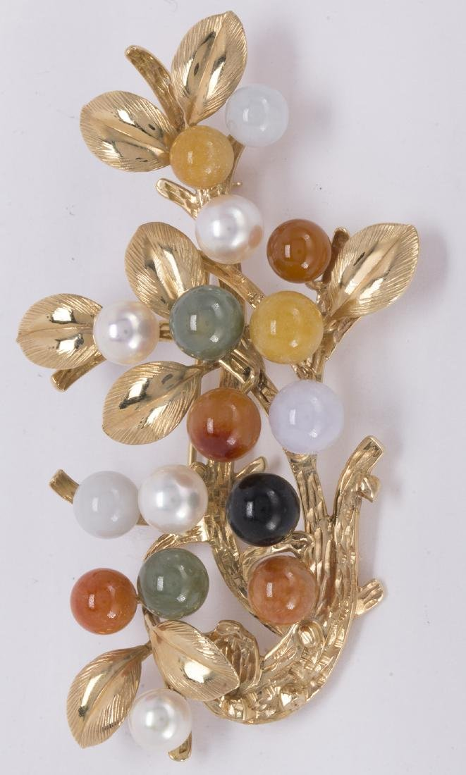 Multi-colored jadeite, cultured pearl and 14k yellow - 2