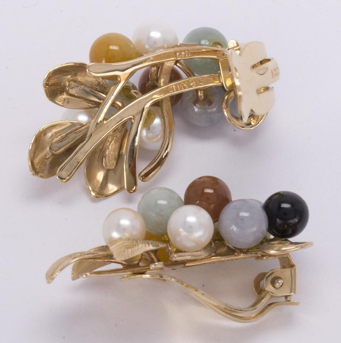 Multi-colored jadeite, cultured pearl and 14k yellow - 5