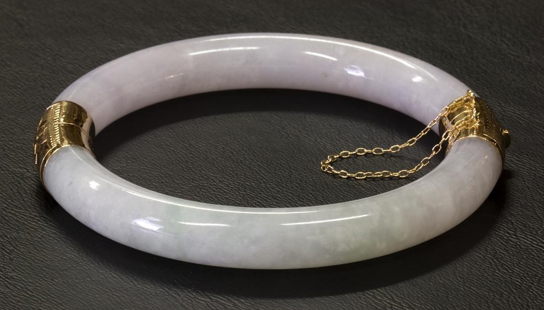 Jadeite and 14k yellow gold bangle bracelet - 2