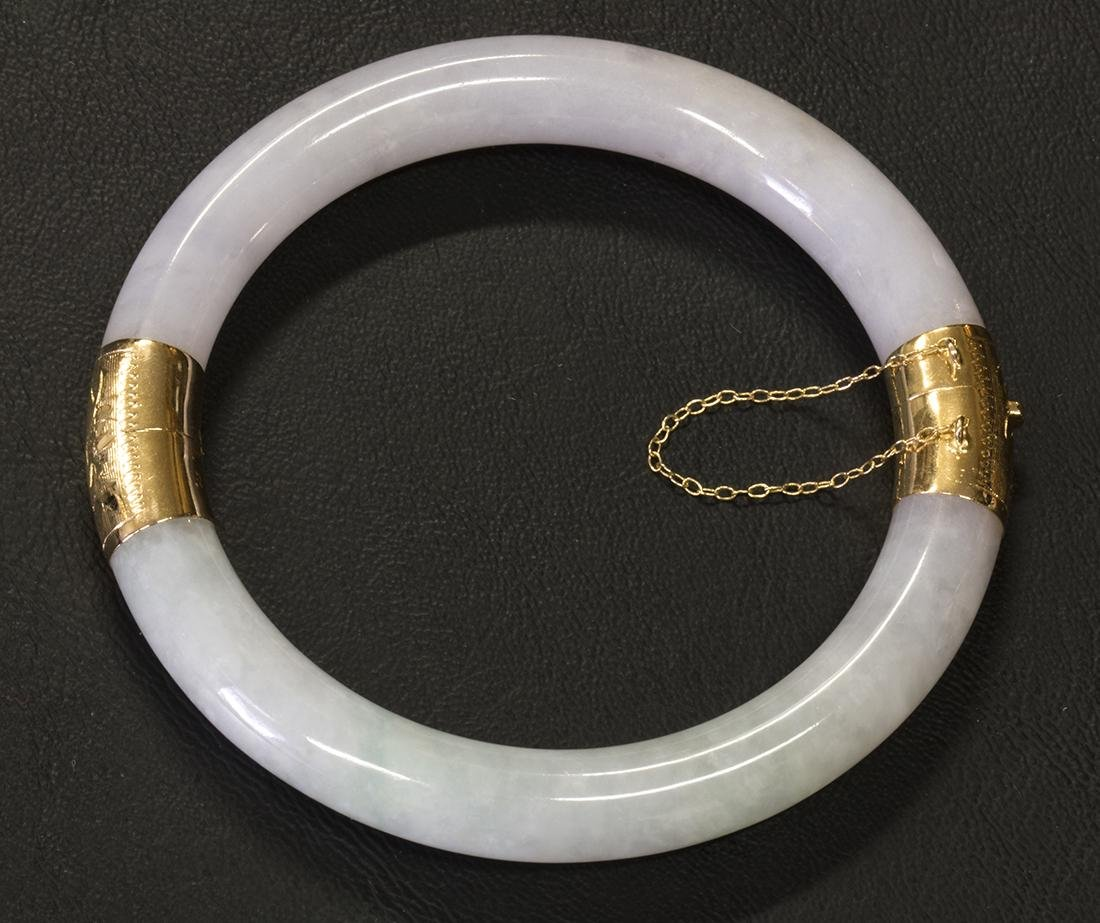 Jadeite and 14k yellow gold bangle bracelet - 4