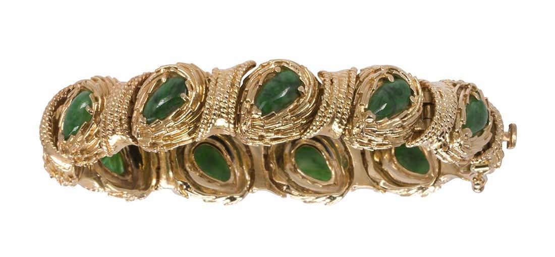 Jadeite and 14k yellow gold bracelet