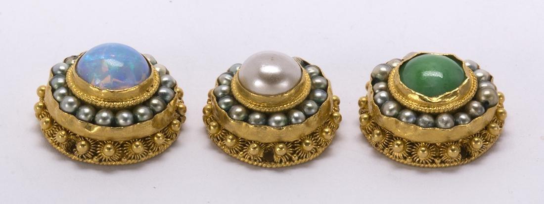 (Lot of 3) Multi-stone, 22k yellow gold clothing - 2
