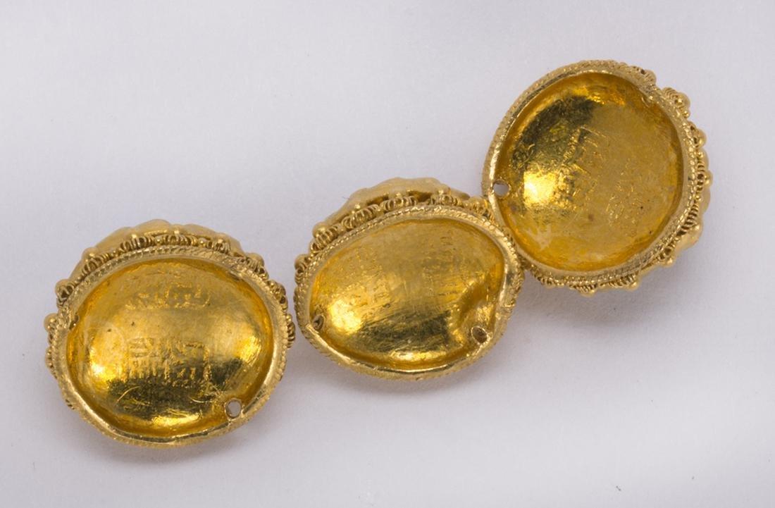 (Lot of 3) Multi-stone, 22k yellow gold clothing - 3