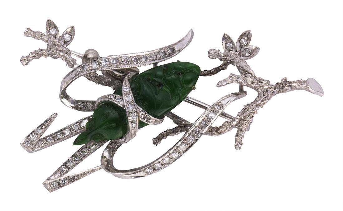 Jadeite, diamond and 14k white gold brooch