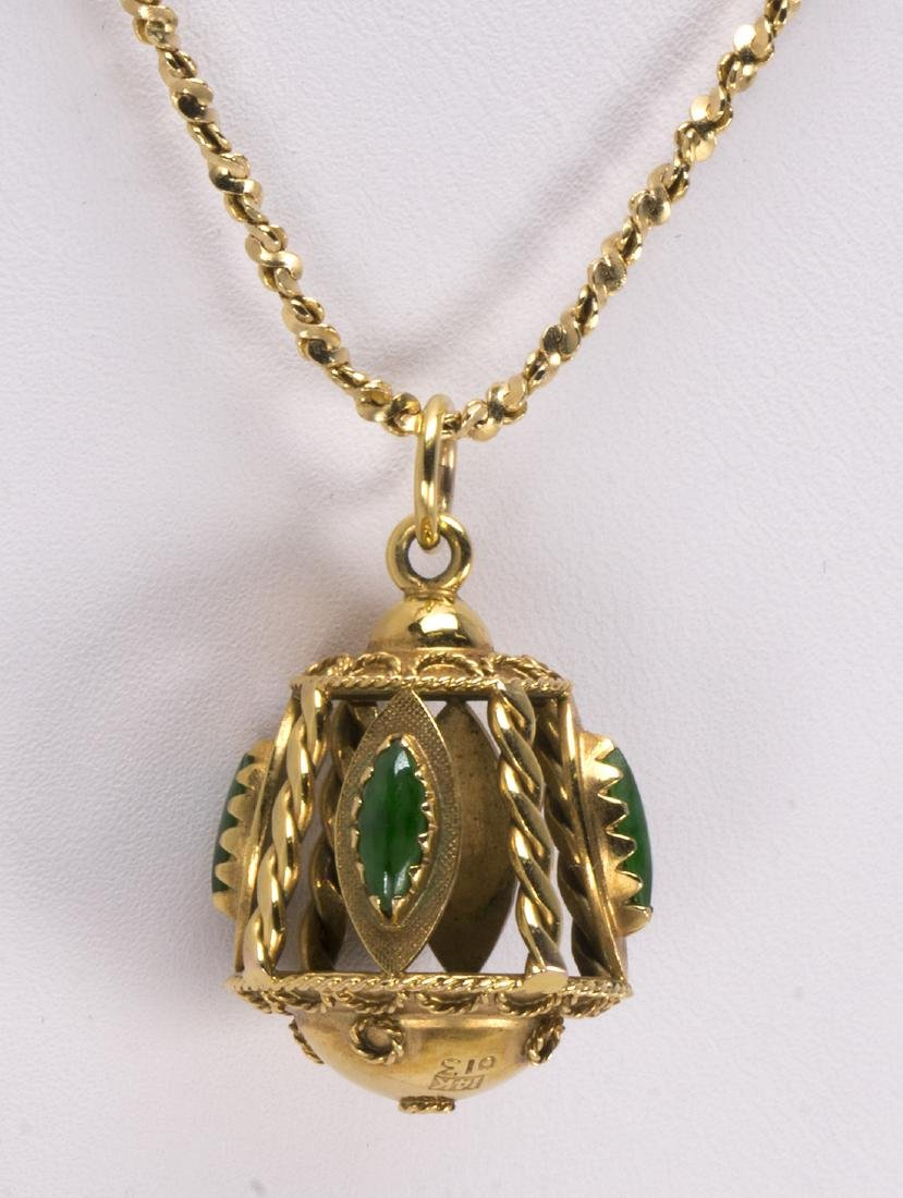 Jadeite and 14k yellow gold pendant-necklace