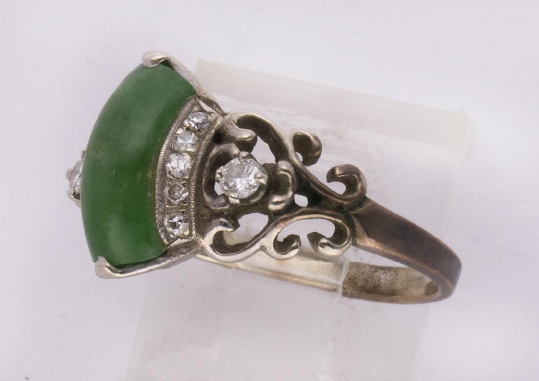 Jadeite, diamond and 14k white gold ring - 2