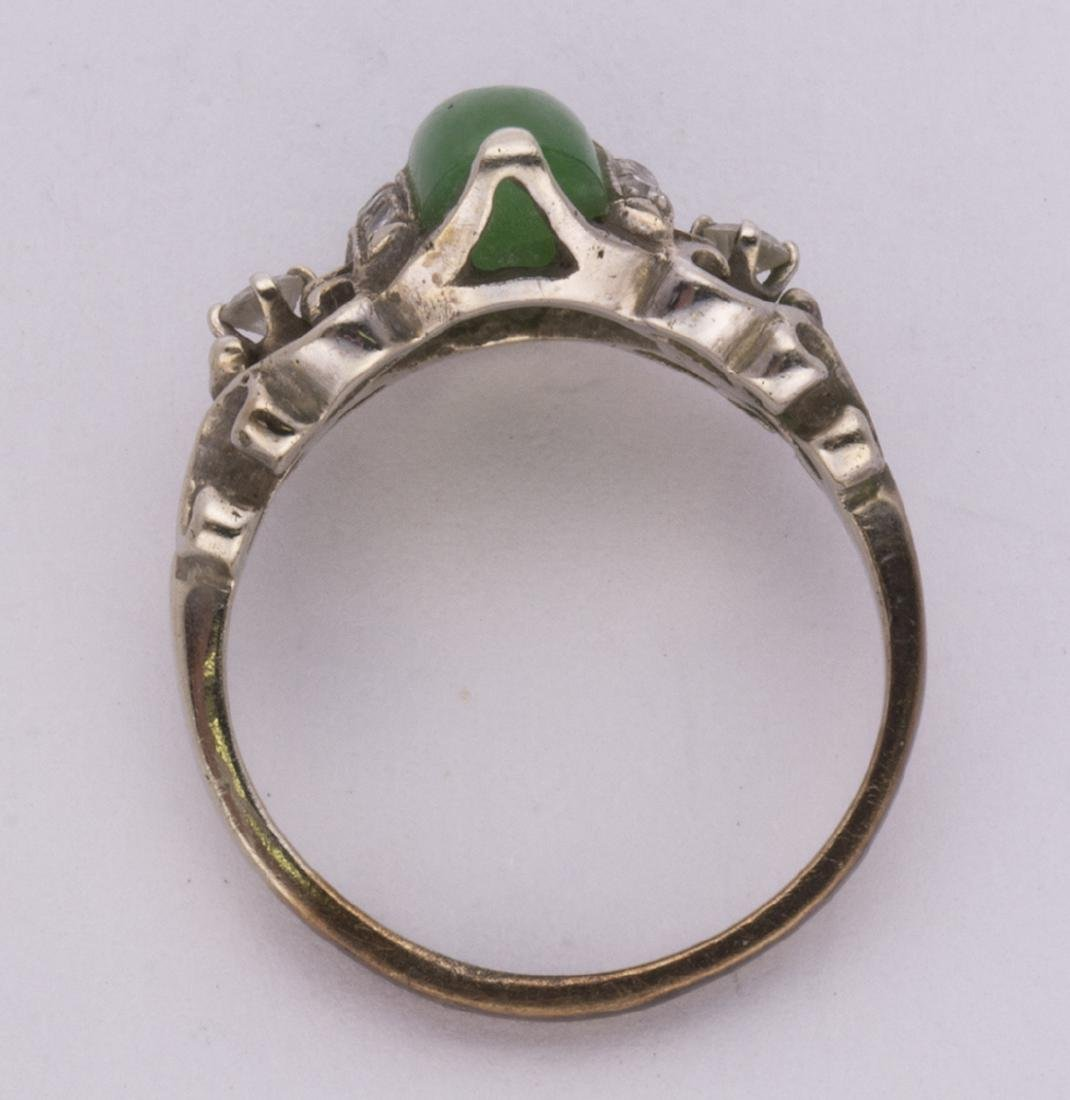 Jadeite, diamond and 14k white gold ring - 3