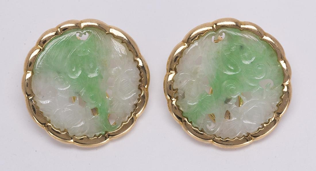 Pair of jadeite and 14k yellow gold earrings