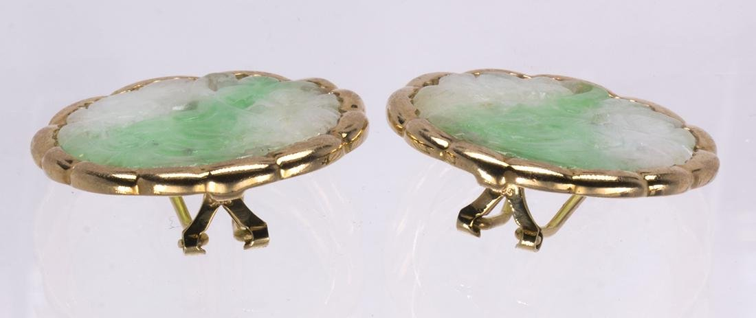 Pair of jadeite and 14k yellow gold earrings - 2