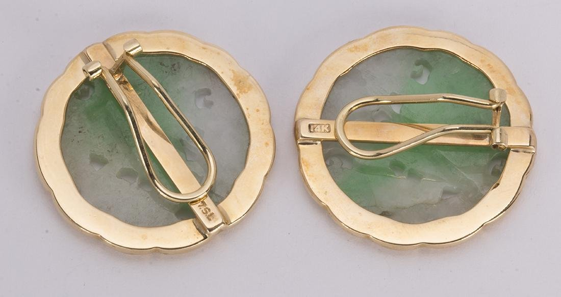 Pair of jadeite and 14k yellow gold earrings - 3