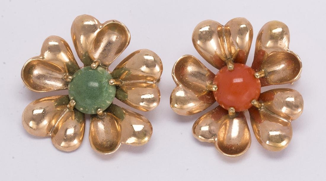 Pair of turquoise, coral and 14k rose gold flower