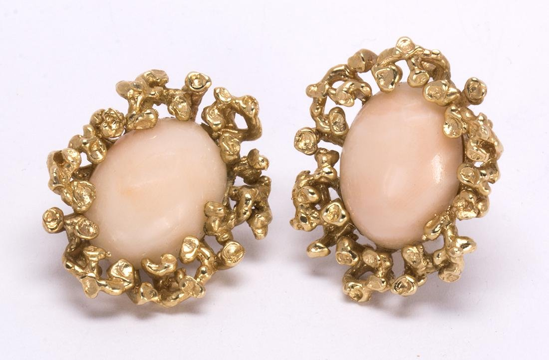 Pair of coral and 14k yellow gold earrings