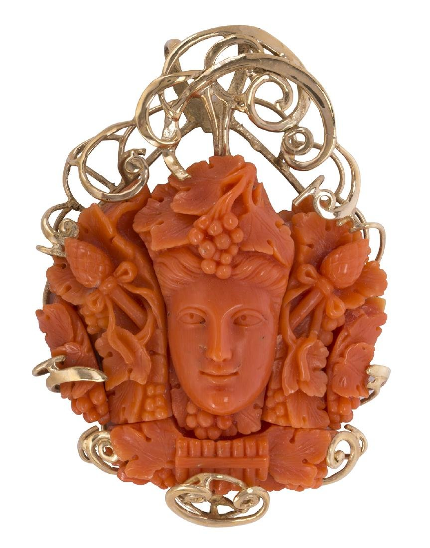 Coral cameo and 14k yellow gold pendant