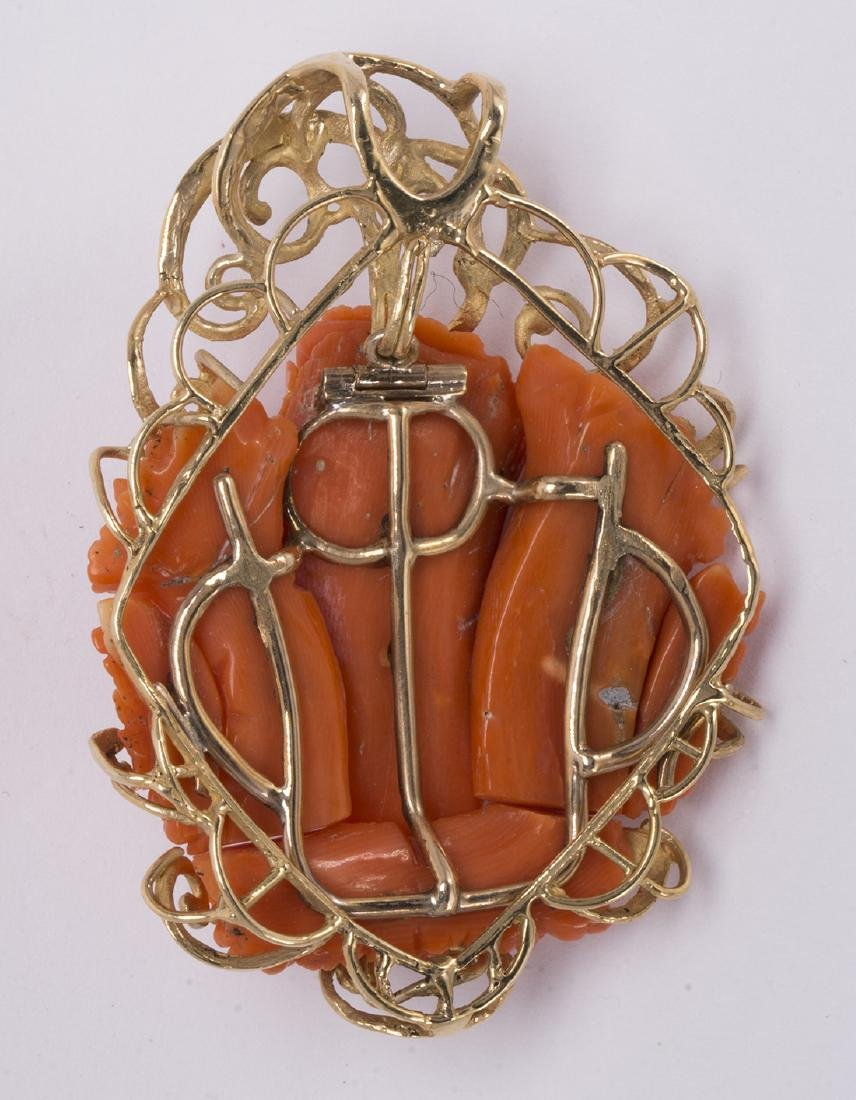 Coral cameo and 14k yellow gold pendant - 2