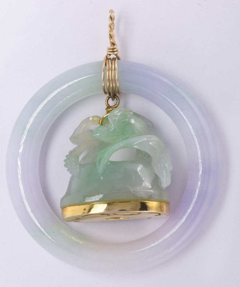 Jadeite and 14k yellow gold pendant