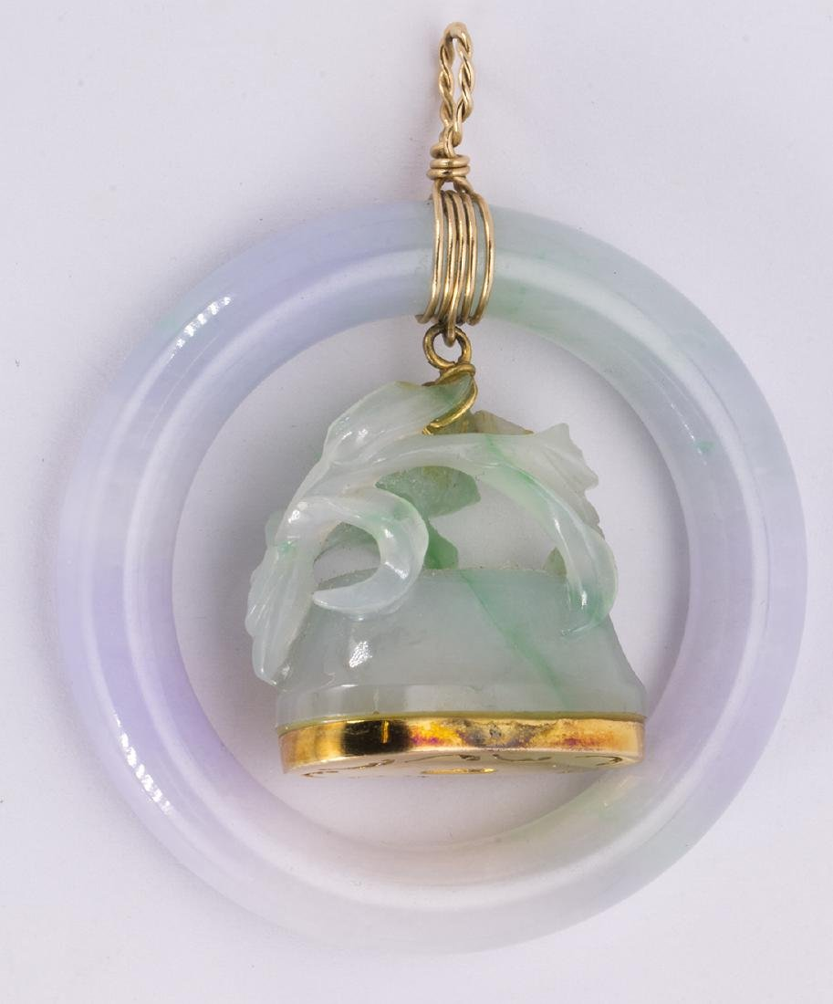 Jadeite and 14k yellow gold pendant - 2