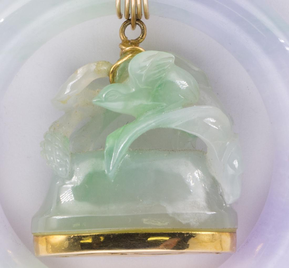Jadeite and 14k yellow gold pendant - 3