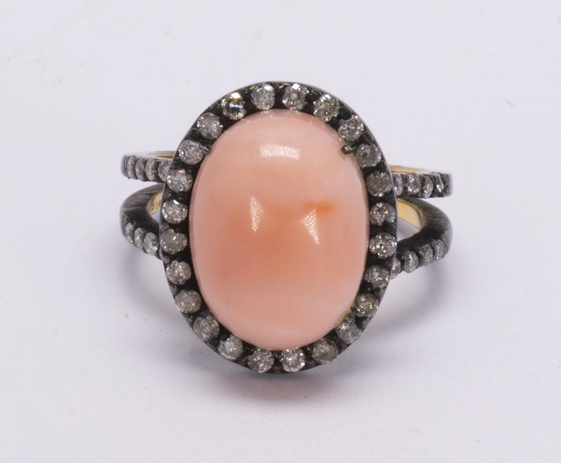 Coral, diamond, 18k gold and blackened silver ring