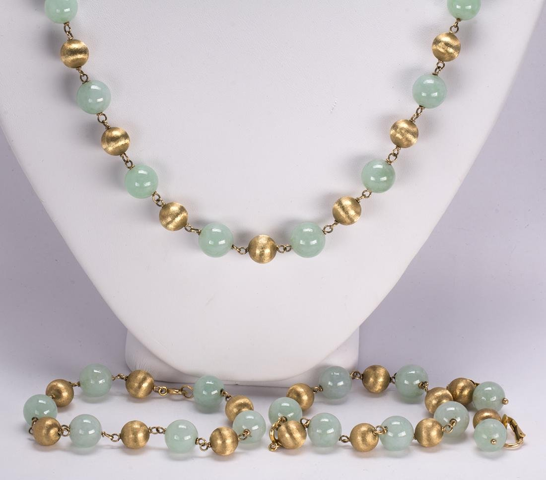Jadeite, 14k yellow gold bead and gold-filled jewelry