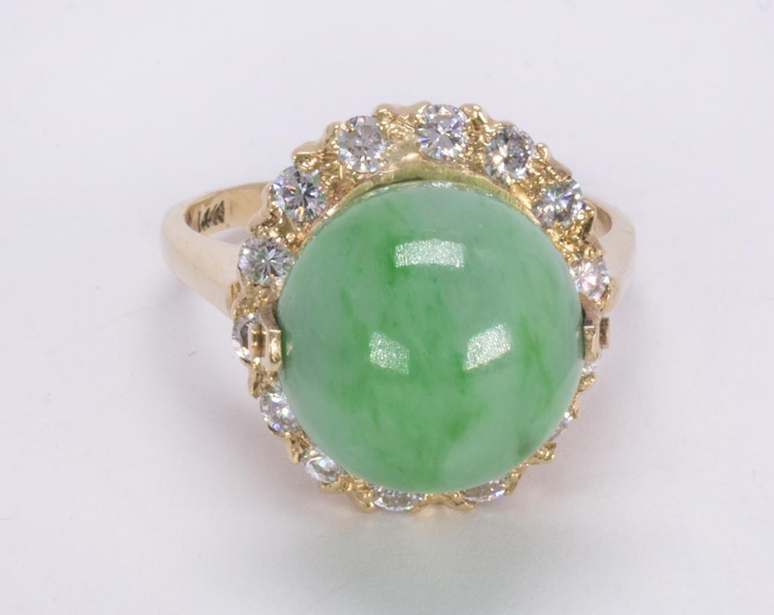 Jadeite, diamond and 14k yellow gold ring