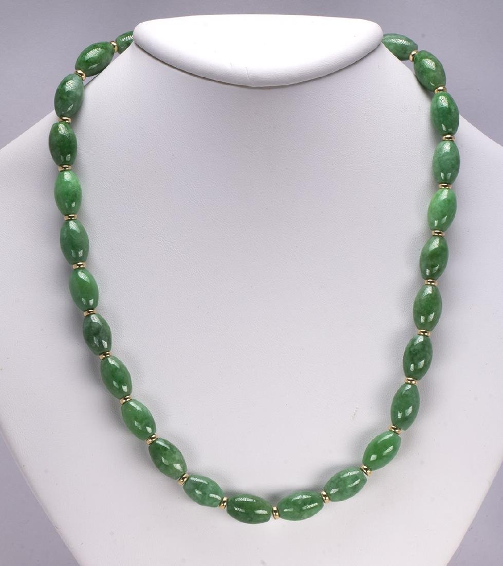 Jadeite and 14k yellow gold bead necklace
