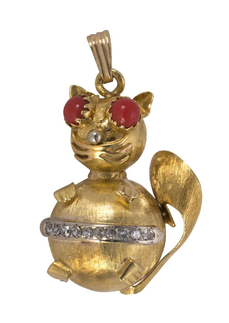Coral, diamond and 18k yellow gold cat pendant-brooch