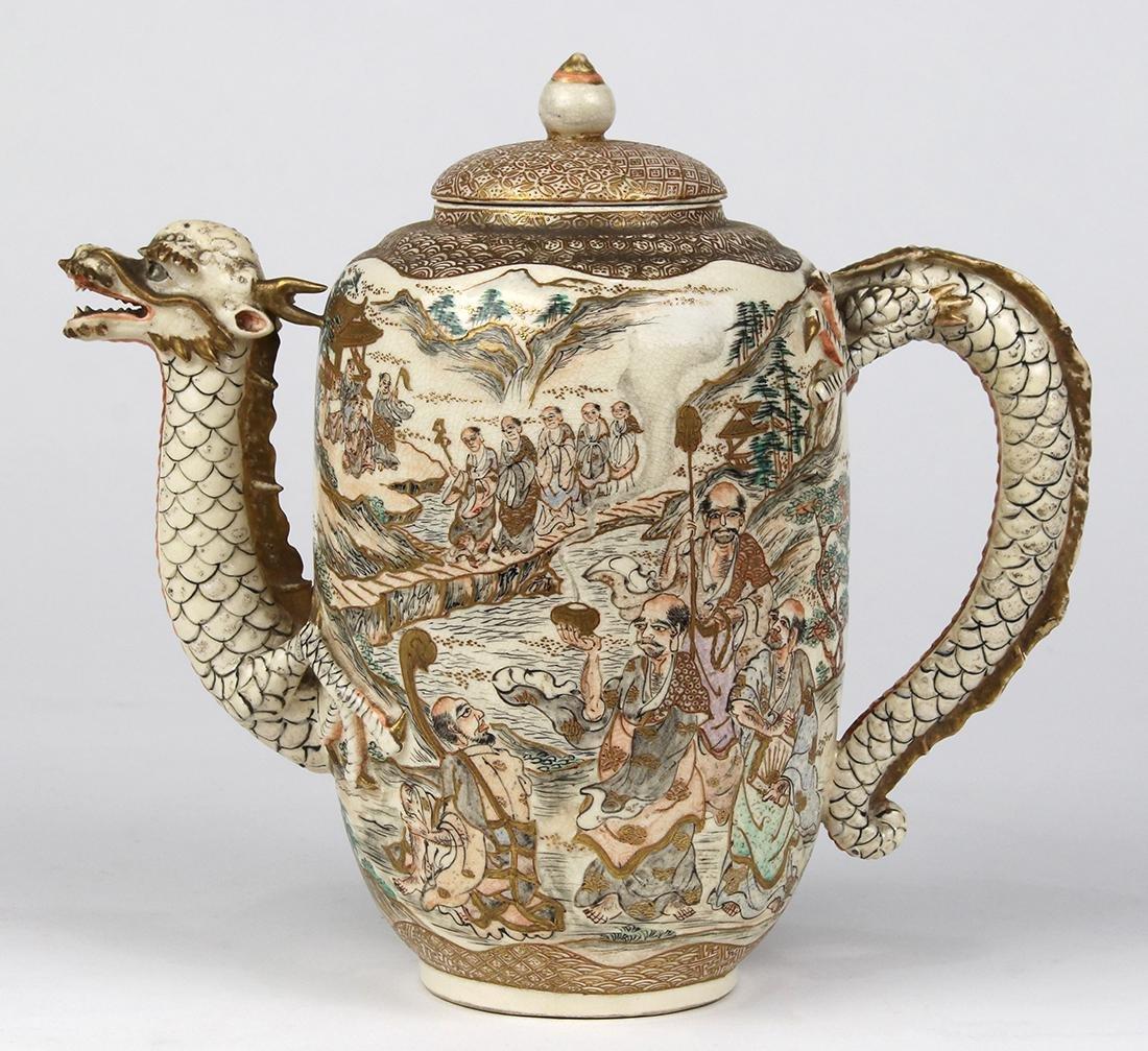 Japanese Satsuma Teapot, Dragon/Arthats