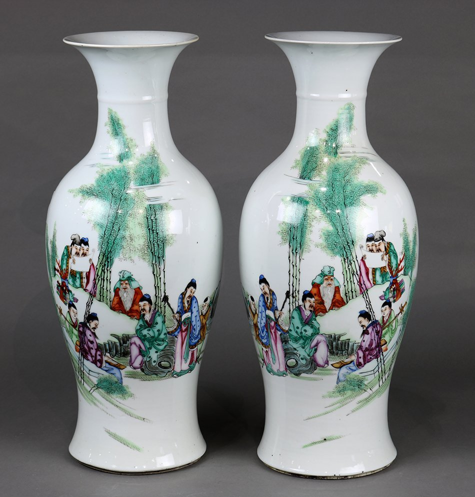 Chinese Porcelain Vases, Seven Sages in Bamboo Grove