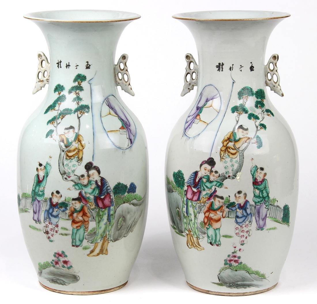 Chinese Porcelain Vases, Beauty/Children