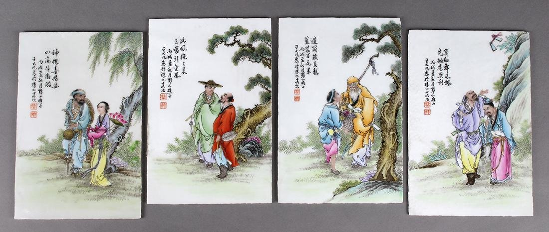 Set of Chinese Porcelain Plaques, Immortals