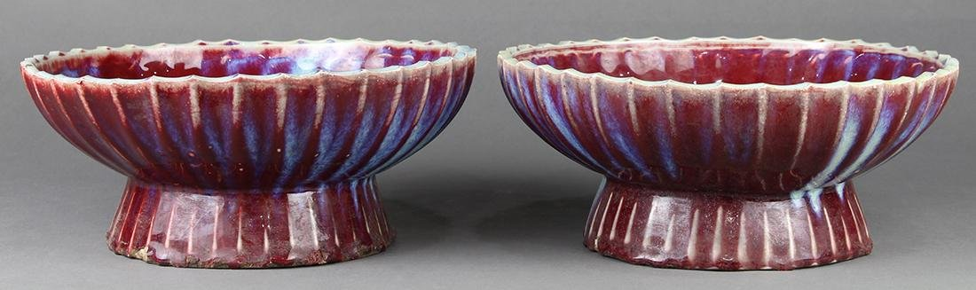 Chinese Flambe Glazed Footed Dishes