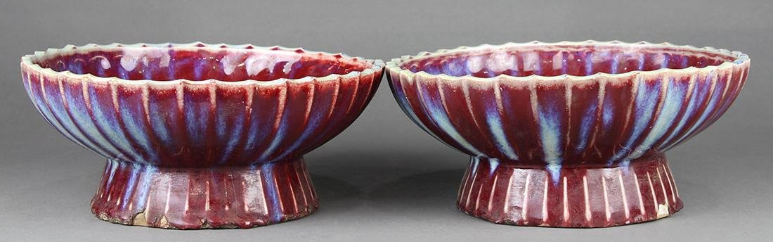 Chinese Flambe Glazed Footed Dishes - 2