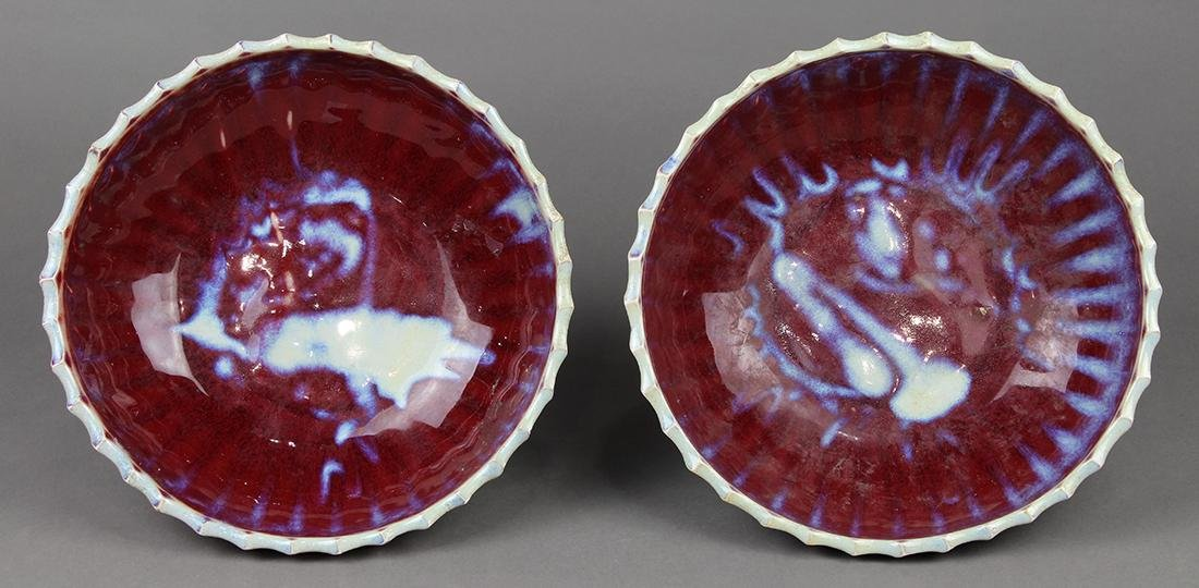 Chinese Flambe Glazed Footed Dishes - 7