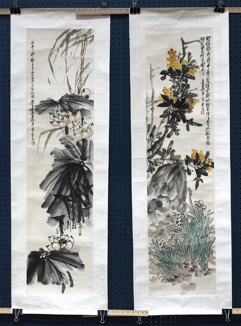 Two Paintings, Manner of Wu Changshuo, Loquats/Lotus