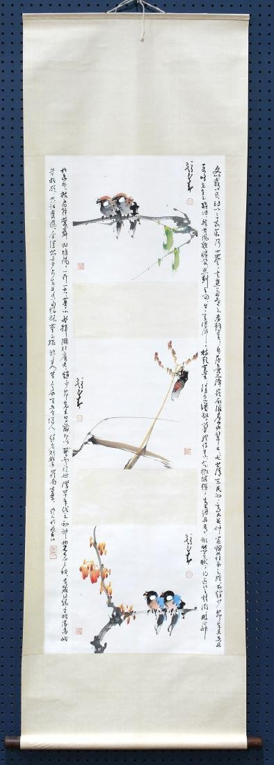 Chinese Scroll, Manner of Zhao Shaoang, Cicada/Birds