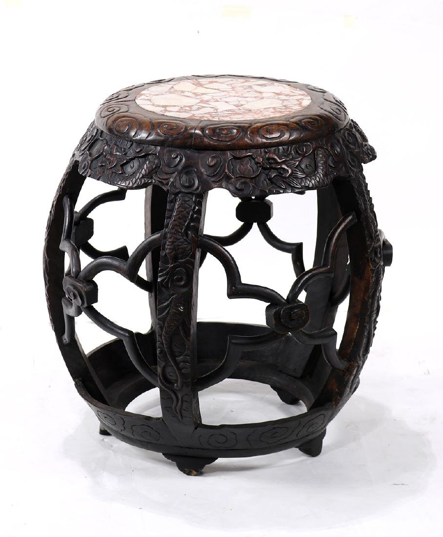 Chinese Marble Wood Stool
