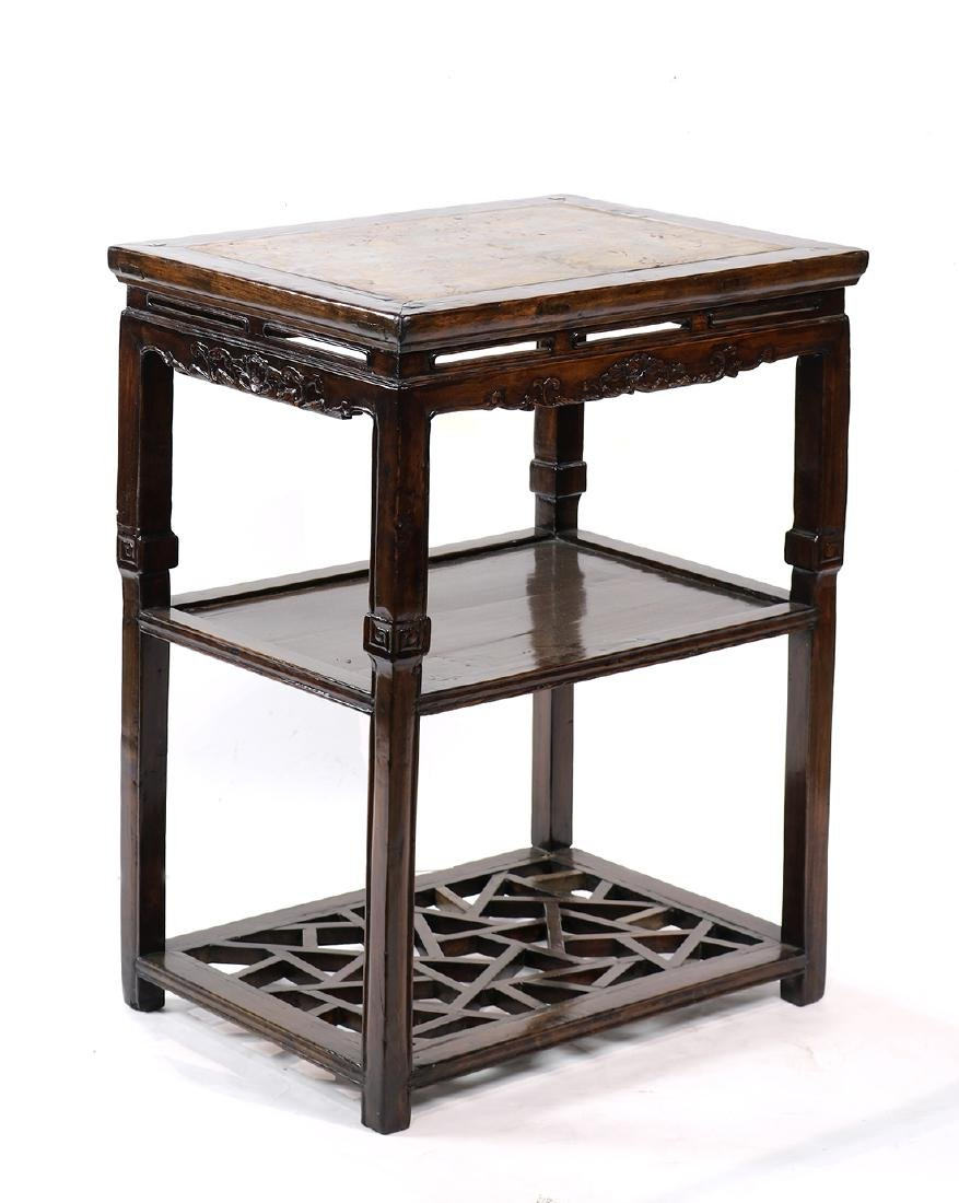 Chinese Marble Inset Tiered Stand