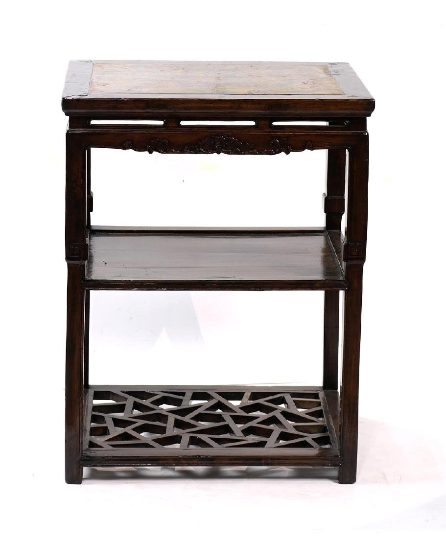 Chinese Marble Inset Tiered Stand - 2
