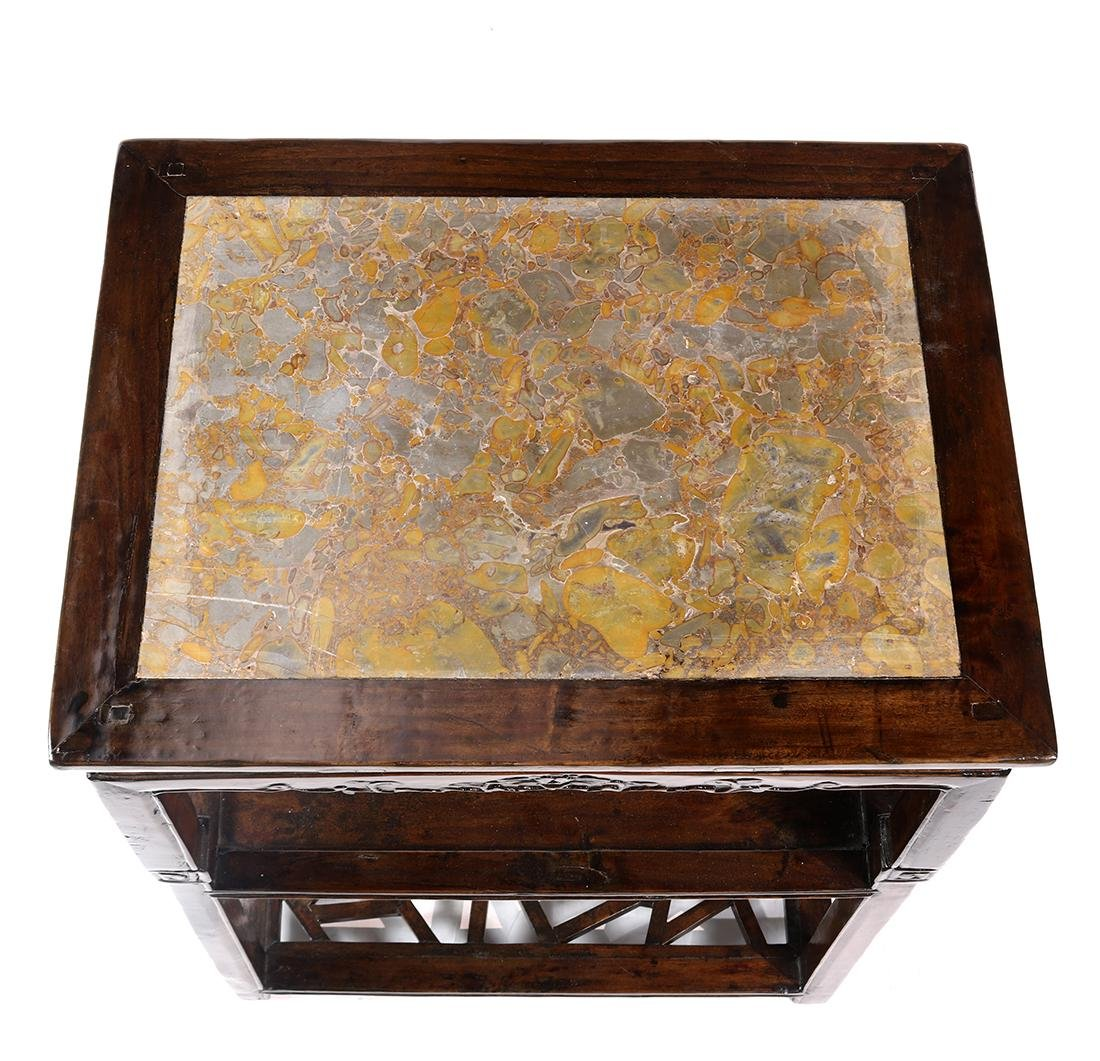 Chinese Marble Inset Tiered Stand - 3