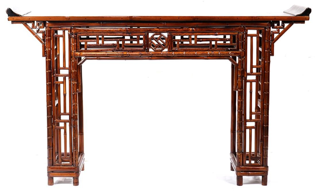 Chinese Bamboo and Wood Altar Table